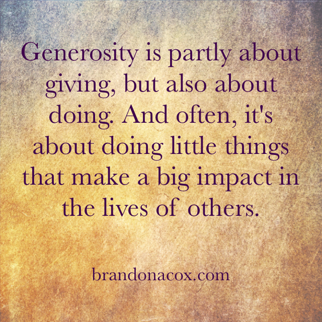 Being Generous in Works and Deeds Too