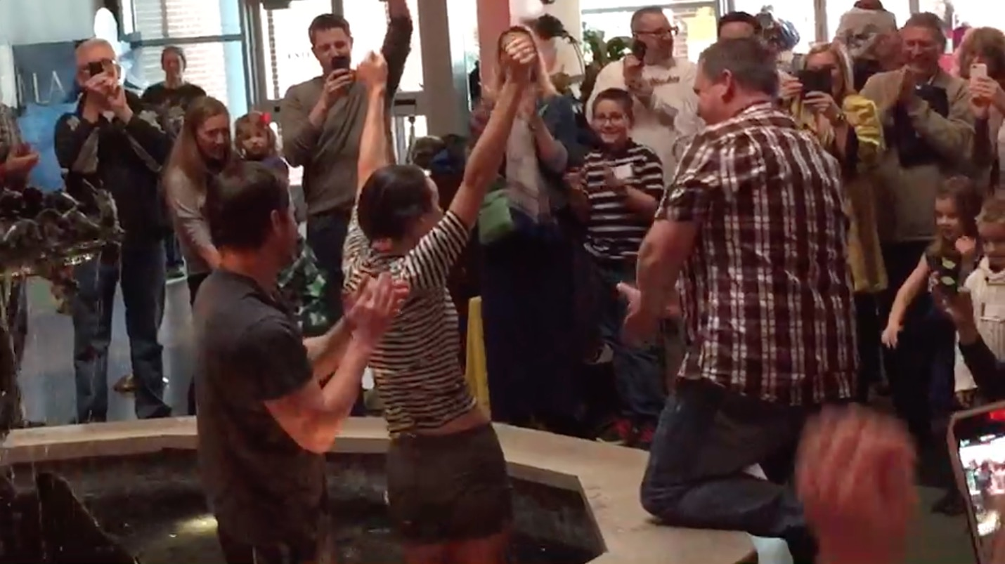 Baptizing In a Theater Fountain