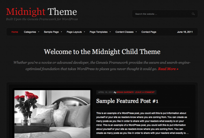 StudioPress Midnight Theme