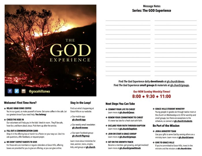 Grace Hills Church Bulletin Sample