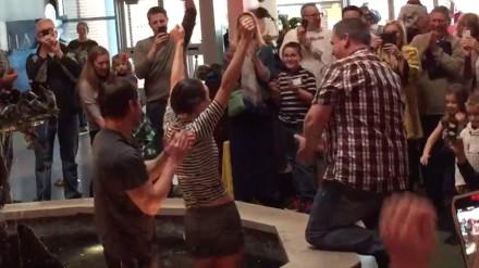Baptizing In a Theater Fountain