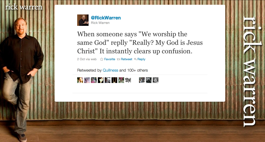 Rick Warren Tweets Jesus Is God