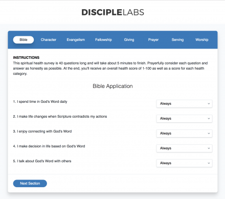 Free Discipleship and Spiritual Health Survey