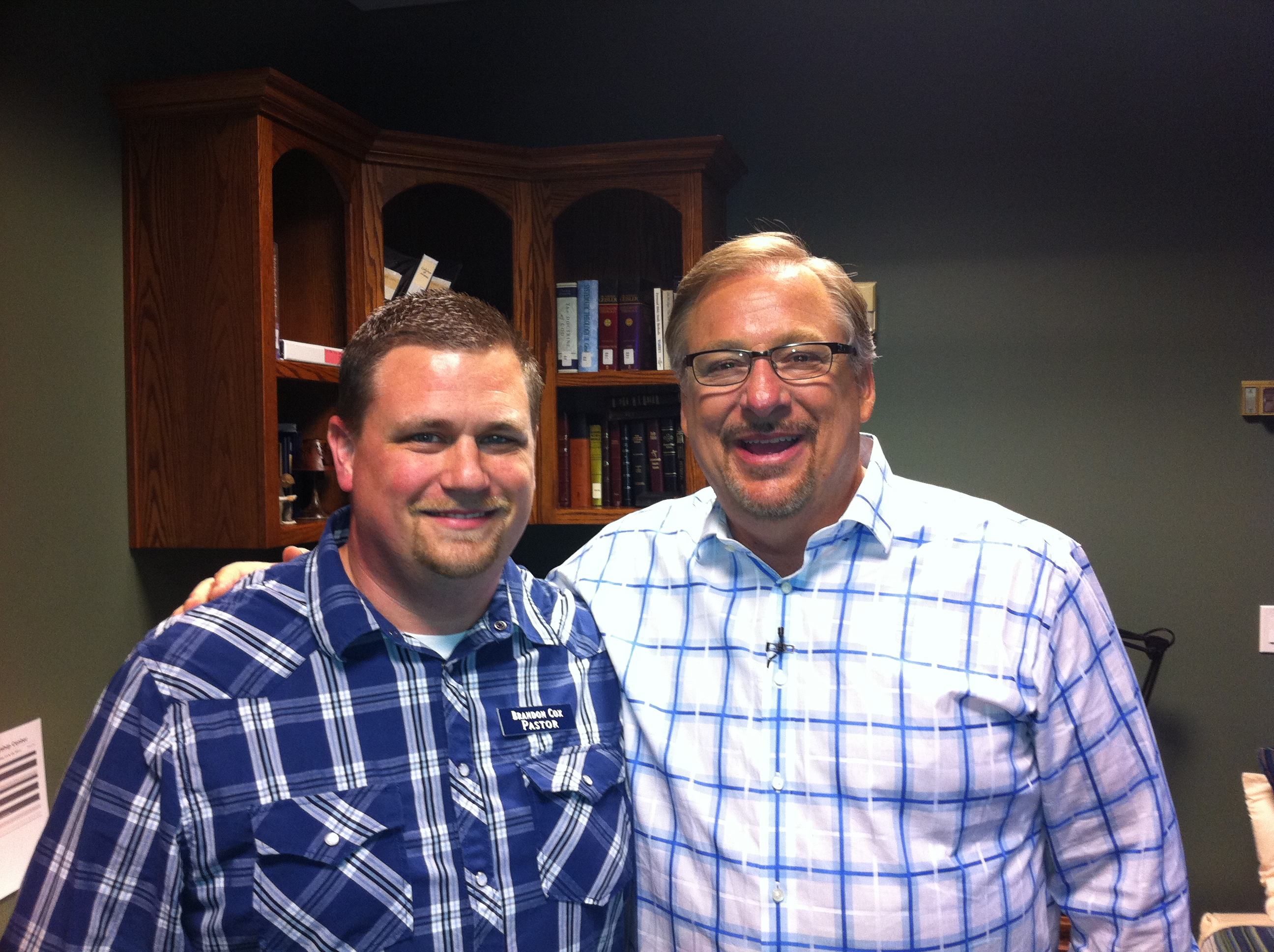 Brandon Cox and Rick Warren
